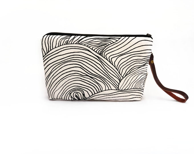 New!  Abstract Circle Waxed Canvas Wallet Clutch Bag with Leather Wristlet Strap