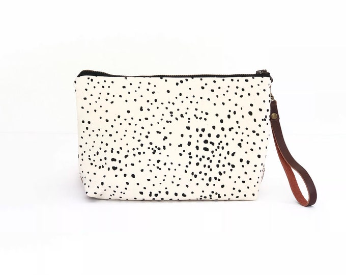 New!  Sketch Polka Dot Waxed Canvas Wallet Clutch Bag with Leather Wristlet Strap