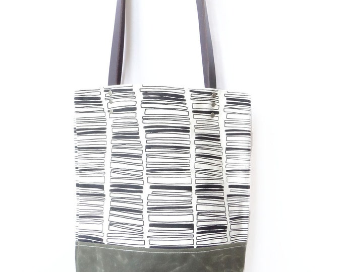 SALE - Hand Printed Waxed Canvas Tote - Rectangle Stacks - Free Shipping
