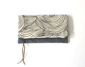 Reversible Waxed Canvas Foldover Clutch - Abstract Circle Pattern with Slate Waxed Canvas and Optional Crossbody Strap