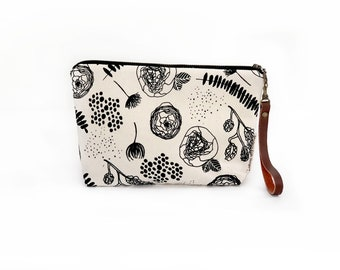 Waxed Canvas Wristlet Pouch - Flora and Fauna on Clay