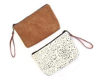 Minimalist Wallet Clutch with Waxed Canvas and Removable Leather Wristlet Strap - Sketch Dot with Whiskey Waxed Canvas