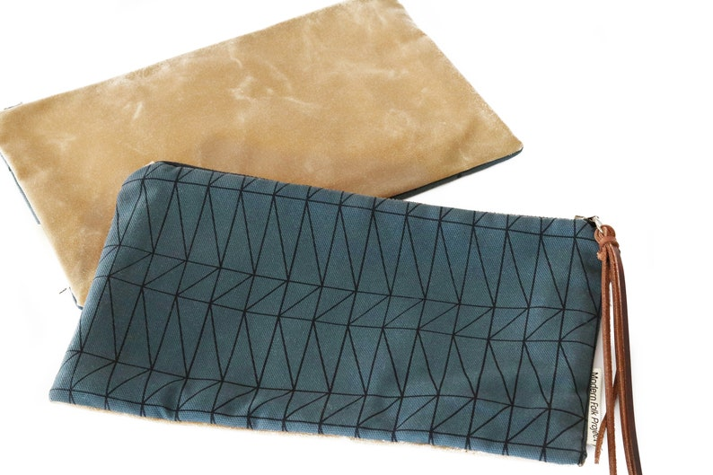 Waxed Canvas Zipper Pouch Clutch with Leather Fringe Architectural Line Pattern on Slate Canvas with Fawn Waxed Canvas