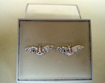 One Pair Of Sterling Silver Bat Stud Earrings