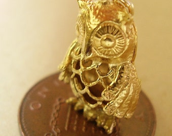 9ct Gold Filligree Owl Charm Charms