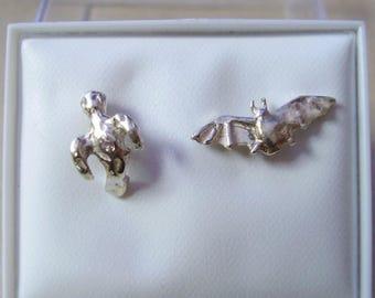 Sterling silver ghost and bat stud earrings