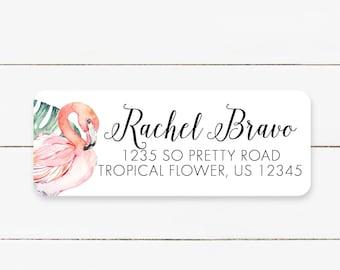 Round Return Address Labels for Kids Flamingo Stickers Flamingo Address Labels Personalized Kids Address Labels Mailing Labels