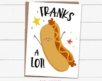 Frankly Youre Great Pun Cute Thank You Set of 6 Cards