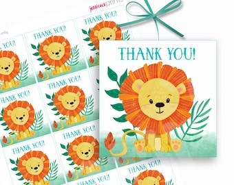 Instant Download Jungle Lion Printable Thank You Card Lion Etsy