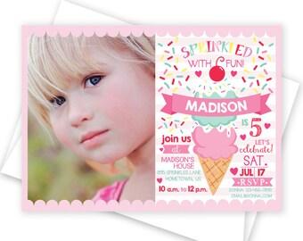 Ice Cream Party Photo Invitation - Sprinkles Birthday Invitation - 5x7 Custom Ice Cream Party Invitation, Ice Cream Baby Shower