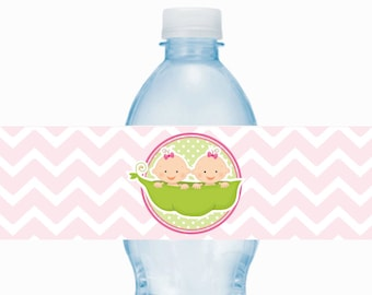 Girl Twins Sweet Pea Printable Water Bottle Wrappers, Twin Pea Pod Bottle Labels, Instant Download, Baby Shower Printable Wrappers
