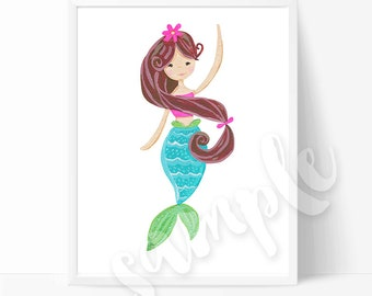 Cute Brunette Mermaid Wall Art Print, Hand Painted Children's Room Wall Print, Art Print, Mermaid Art Print, Nursery, Girls Room Decor