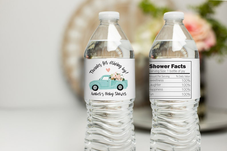 Teal Truck Drive By Baby Shower Water Bottle Labels Stickers for Water Bottles Water Bottle Labels Drive By Baby Shower Waterproof Labels