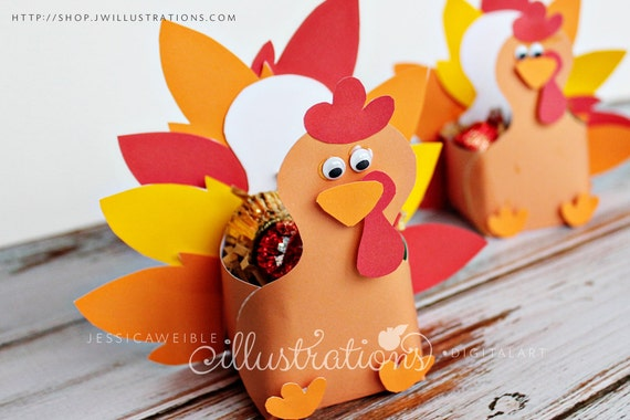 Thanksgiving Turkey Favor Box Turkey Paper Craft Etsy
