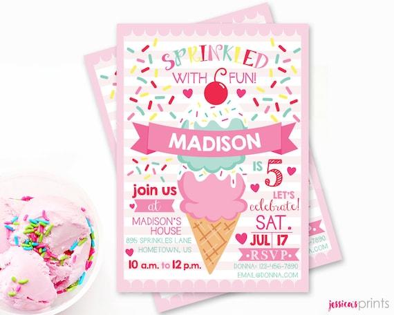 ice cream printable party invitation sprinkles birthday etsy