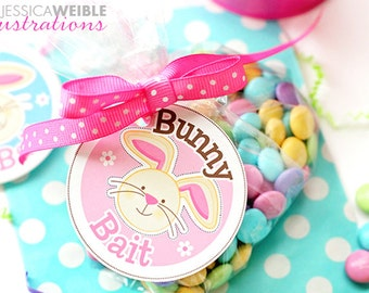 Bunny Bait Printable Cupcake Toppers, Easter Party Favor Tags, Easter Party, Printable Happy Easter Party Circles, Easter Bunny Party Tag