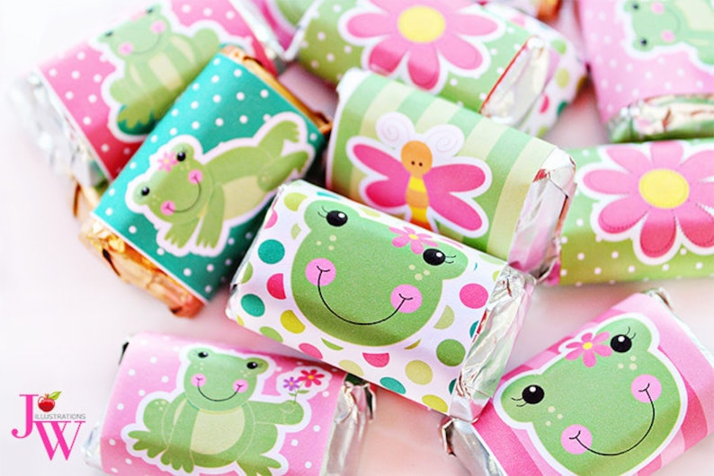 Chocolate Bar Labels Frog Candy Wrappers Girl Frog Party Girl Frog Party Printables Spring Frogs Printable Candy Bar Wrappers