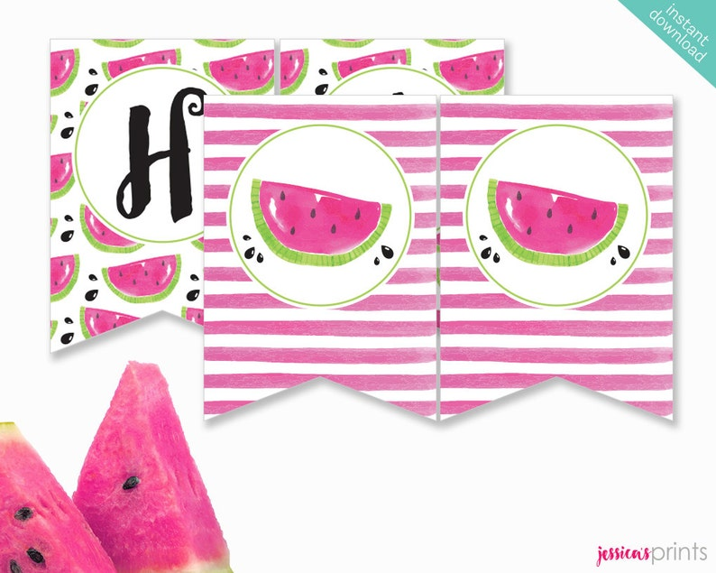 picture about Watermelon Printable titled Fast Obtain Watermelon Printable Bash Banner, Watermelon Pleased Birthday banner, Watermelon Celebration Printable, Purple Watermelon Banner