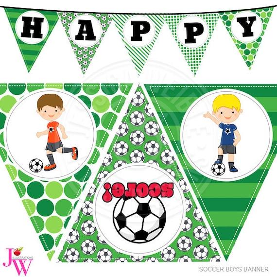 Los Chicos De Futbol Para Imprimir Fiesta Banner De Feliz Etsy