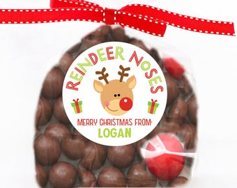Personalized Stickers Reindeer Noses Christmas Stickers, Christmas Reindeer Circle Stickers, reindeer noses Stickers, Christmas Stickers