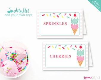 Instant Download Ice Cream Printable Party Buffet Cards, EDITABLE Ice Cream Tent Cards, Ice Cream Party Printable Buffet, Sprinkles