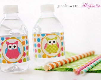 Polka Dot Owls Printable Water Bottle Wrappers, Owl Party Bottle Labels, Instant Download, Birthday Party Printable Wrappers, Pink Owl