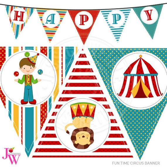 Fun Time Circus Printable Party Banner Printable Circus