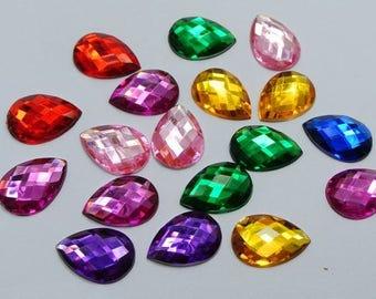 250 High Quality Resin Teardrop / Pear Shape Rhinestones Beads gems 8mm*5mm