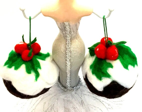 Felted Xmas Puddings - Xmas Wool Sculptures - Great Hostess Gift - New Home 1st Xmas - Designer Xmas Decorations - Top Friendship Gift