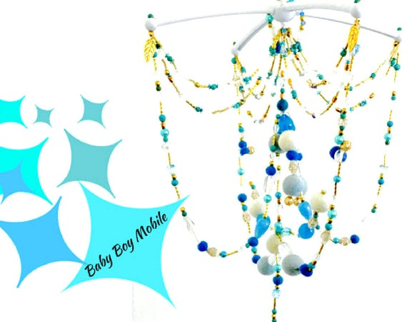 Chandelier Style Mobile - Blue Baby Mobile - Felt Ball Crib Mobile - Mothers Day Gift - Unique Baby-Boy-Blue Mobile  - New Baby Gift