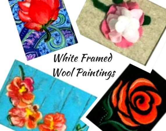 Original Art - Original Paintings - Gift for Her - Needle Felted Art - 4 White Framed Pictures - Original Wool Art - Original Fibre Art