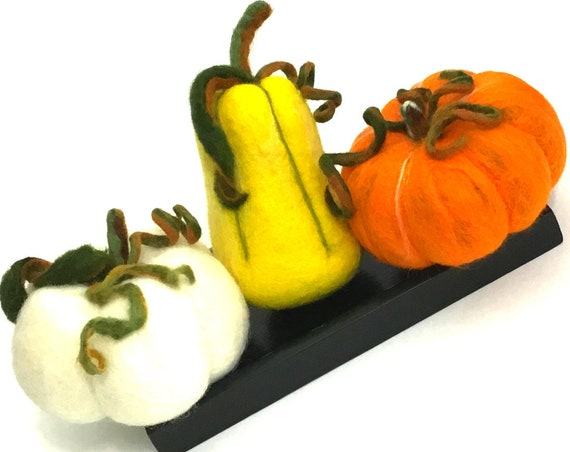 3 Sculptured Wool Pumpkins - Orange Pumpkin Centrepiece - Friendship Gift - Fruit Bowl Decor - Housewarming Gift - Hostess gift