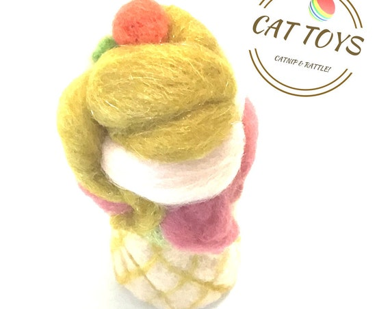 Felt Cat Toy - Cherry Topped Ice Cream Cat Toy - Needle Felted Wool Cat Toy - Quality Merino Wool Cat Toy - Felt Ornament - Cat Lover Gift