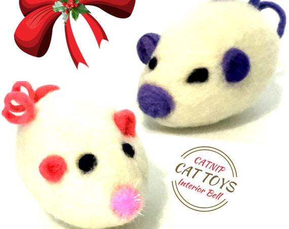 White Mice Cat Toys - Mother and Son Mice - Needle Felted Cat Toys - Catnip Toys - Curly Tail Mice - Cat Lovers Gift - Free Local Shipping