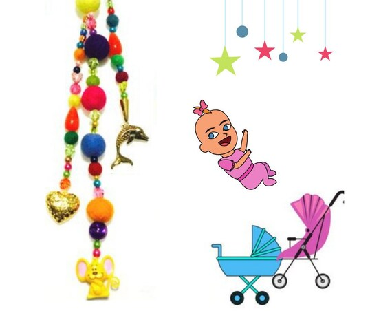 Felt Baby Mobile - Unique Baby Gift - Bright Beaded Pram Dangle - New Mum Gift - Monkey Pram Bling - Cute Monkey Mobile - New Baby Gift