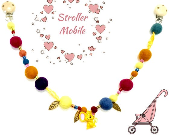Baby Stroller Chain - Bright Felted Pram Decor - New Mother Gift - Baby Shower Gift - On Trend Stylish Pram Mobile - Reduced Price