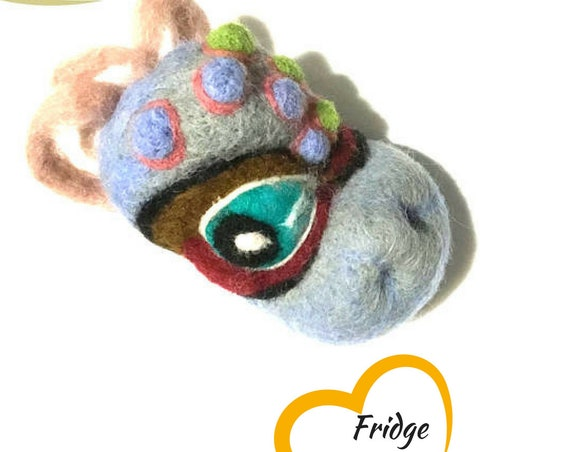 Baby Dragon Wool Sculpture - Grey Needle Felted Brooch - Versatile Pendant or Magnet - OOAK Creation - Hand Crafted Gift - Collectors Item