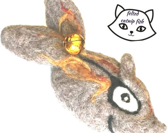 Felted Fish Cat Toy - Grey Catnip cat Toy - Quality Needle Felted Cat Toy - Handmade Cat Gifts - Felted Cat Gifts - Cat Lovers Gift