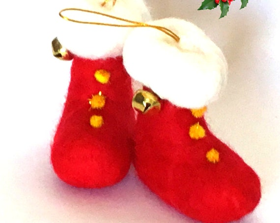 Large Xmas Boots - Red Snow Shoes - Needle felted Wool Sculptures - Unique Xmas Gifts - Designer Friendship Gifts - Great Hostess Gifts