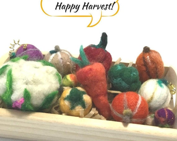 Mini Wool Sculptured Vegetables - Happy Harvest Gift - Halloween Decorations - Table Centrepiece - Housewarming Gift -  Friendship Gift