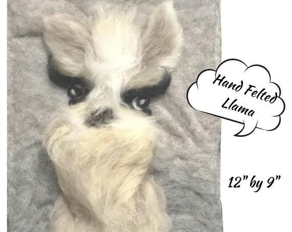 Llama Paintings - 3D Merino Wool Pictures - Llama Wall Decor - Needle Felted Art - 2 Unframed Fibre Art Paintings - Original Art Gift