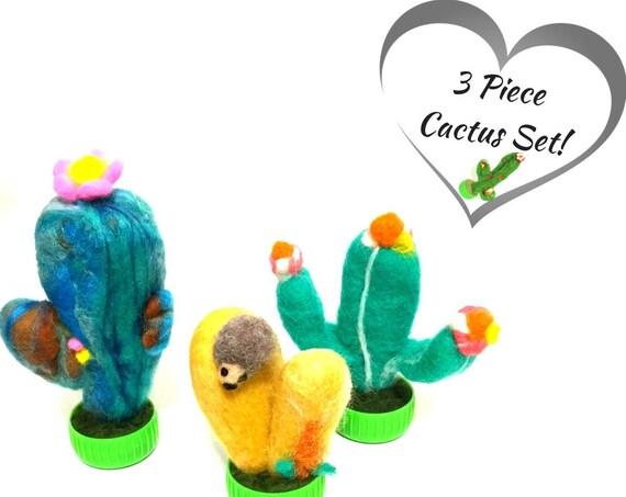 Cactus - 3 Felt CactusPlants - Hand Felted Plants - Needle Felted Cacti - Wool Sculptures - Plant Lover Gift - Australian Wanderrah