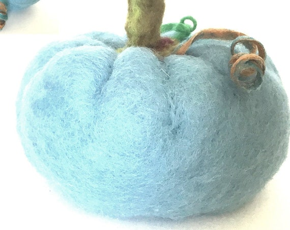 Large Pale Blue Pumpkin - Blue Pumpkin Table Decor - Friendship Gift - Fruit Bowl Decor - Housewarming Gift - Wool Sculpture - Hostess Gift