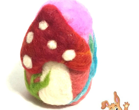 Easter Egg - Mushroom Felted Egg -  Red Mushroom Easter Egg - Easter Table Decoration - Special Keepsake - Easter Egg Gift - Collectors Item