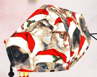 Santa Cat Face Mask, Great Fit, Nose Wire, Bespoke Face Mask, OPTIONAL Pocket and Filters, Friendship Gift, Free Shipping 60% Off SALE