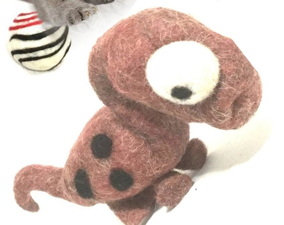 Brown Dinosaur Wool Cat Toy - Relocation Cat Gift - Cat Lover Gift - Felted Wool Sculpture - Little Devil Cat Collar - Felted Cat Toys