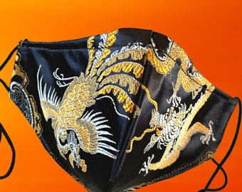 Gold Dragon Brocade Mask, Great Fit, Nose Wire, Bespoke Face Mask, OPTIONAL Filters and Pocket, Friend Gift, Free Shipping,60% Off SALE!