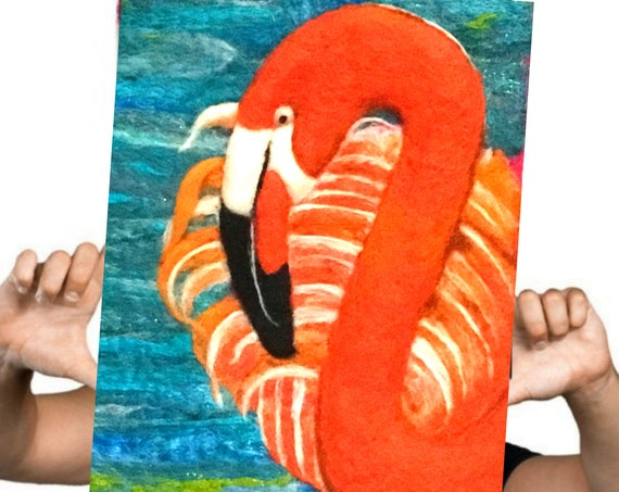 Flamingo Wool Painting - Stunning Wall Decor - Hand Felted Desk Art - Needle Felted Wool Picture -Birthday Gift - Art Lover Gift