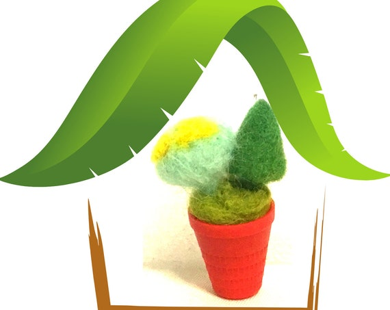 Dolls House Felted Cactus Plant - Thimble Cactus - Miniature Cactus - Friendship Gift - Hand Felted Wool Sculpture - Tiny Dolls House Decor