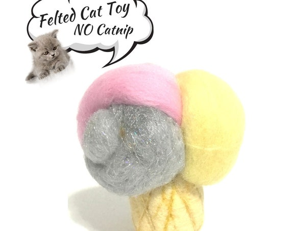 Soft Serve Felt Cat Toy -  Ice Cream Cat Toy - Needle Felted Cat Toy - Cat Throw Toy - Cat Play Toy - Felted Toy - Cat Lovers Gift